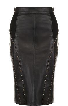 Женская черная кожаная юбка-карандаш с металлизированной отделкой Versace, сезон SS 2018, арт. A78722/A224704 купить в ЦУМ | Фото №1