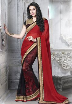 Red Faux Chiffon Party Wear Saree 63224