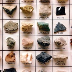 Rock and Raw Gemstones Identification Chart Minerals And Gemstones, Rocks And Minerals, Crystals And Gemstones, Stones And Crystals, Gem Stones, Crystals Minerals, Crystal Identification, Mineral Chart, Rock Hunting