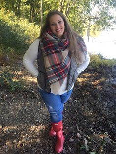 Classically Curvy blog blanket scarf lookbook. J crew herringbone puffer vest. Red Hunter boots