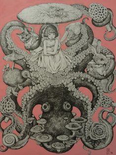 higuchiyuko:ヒグチユウコ画2012きのこ展出品蛸