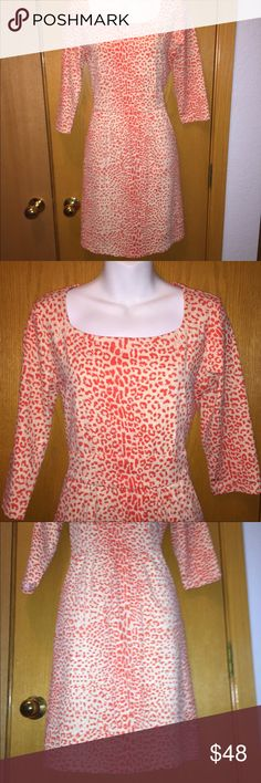 "J. McLaughlin Emma Pocket Dress J. McLaughlin Emma Leopard Print Pocket Sheath Dress Size: Medium  Color: Orange & White  Material: 91% Nylon/ 9% Spandex Bust: 38"" Waist: 32""  Length: 36"" Details: Square Neck, 3/4 Sleeve, Front Slant Pockets at Hips Excellent Pre-Owned Condition J. McLaughlin Dresses"