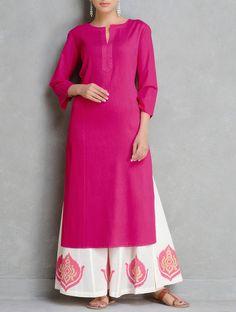 Fuschia Pintuck Cotton Kurta by Ruh Simple Kurta Designs, Kurta Designs Women, Kurti Neck Designs, Kurti Designs Party Wear, Indian Gowns Dresses, Indian Outfits, Eid Outfits, Simple Indian Suits, Designer Anarkali Dresses
