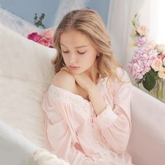 Cotton Lace Home clothes Vintage Classic Sleepwear European Style Who like it ? Visit our store