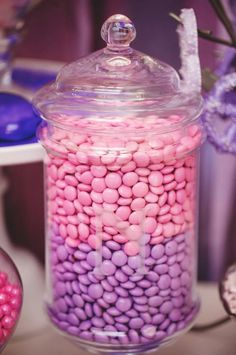 Love this chocolate candy display in purple and pink colors. Adorable idea for a Princess-themed birthday party!