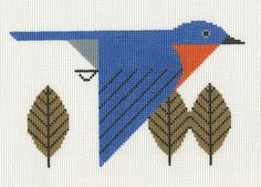 """Charley Harper - Bluebird CH-B023 from Treglown Designs: 13:1 mesh needlepoint handpainted canvas of Charley Harper's beloved print. 8 x 10""""  NEEDLEPOINT THREAD IS NOT INCLUDED $62.50"""