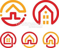 Vector Art : House abstract icons set. Red and yellow unusual linear real estate agency icons collection. Realtor icon. Home icon