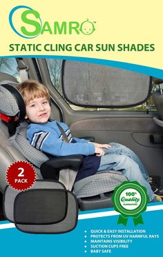 """Amazon.com: Car Sun Shade by SAMRO (2 Pack) Exclusive Size 19""""x12"""" Baby Car Sun Shade Blocking nearly 99% of Harmful UV Rays - Protecting Your Kids & Pets from Sunlight and Glare with SAMRO Lifetime Guarantee: Baby"""