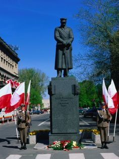 Guards at Monument to Marshal Pilsudski on 3rd May, Constitution Day, Warsaw, Poland