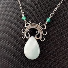 Lyonesse Pendant Amazonite Silver Wire Wrapped by Door44Jewelry