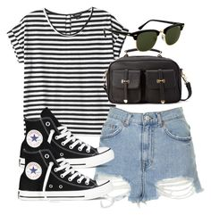 outfit for college by im-emma on Polyvore featuring polyvore, moda, style, Monki, Topshop, Converse, Forever 21 and Rayban