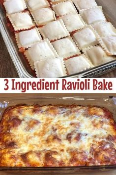 This 3 ingredient meal is super quick and easy and It s made with simple and cheap ingredients Throw it together on busy weeknights Even the kids love this dinner recipe Baked Ravioli A K A Lazy Lasagna Baked Dinner Recipes, Gourmet Recipes, Crockpot Recipes, Cooking Recipes, Easy Recipes, Cheap Casserole Recipes, Healthy Recipes, 3 Ingredient Dinners, 3 Ingredient Recipes