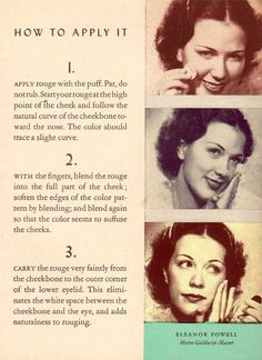 Fascinating tips – like how a 1930s woman took as much care with her lashes, morning and night as she did with brushing her teeth!  Many of the accepted ideas of contouring and highlighting, were only understood by Hollywood stars, and when manuals like these were  published – women eagerly snapped them up in order to emulate the glamour of their favorite actress.