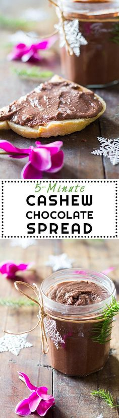There is no better hostess gift than this Cashew Chocolate Spread. All you need is 5 ingredients, 5 minutes, a Vitamix and a pretty jar. #sponsored via /greenhealthycoo/