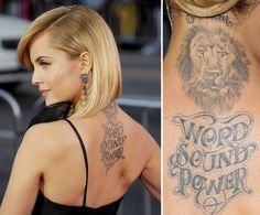 """Pin for Later: The Ultimate Celebrity Tattoo Gallery Mena Suvari Mena Suvari got a lion's head with the words """"word, sound, power"""" on her upper back in 2008."""