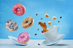 Flying donuts with coffee ~ Photos ~ Creative Market Food Photography Tips, Creative Photography, Photography Editing, Donuts, Donut Pictures, Food Flatlay, Food Poster Design, Coffee Photos, Creative Advertising