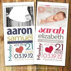 Newborn Stats Birth Announcement Size 4x8  by SprinkledJoy on Etsy, $9.95