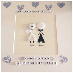 Mr and mrs wedding stickmen personalised button head scrabble frame gift any colour scheme Stickman bride and groom wedding frame can be made to suit wedding colours. Add your own wording and the couples names t. Scrabble Frame, Personalized Buttons, Wedding Cards Handmade, Button Cards, Mr And Mrs Wedding, Wedding Frames, Happy Birthday Cards, Anniversary Cards, Homemade Cards