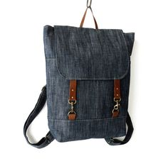 """Unisex, Indigo  Denim  Backpack , laptop bag(up to 15""""), school bag, diaper bag with leather closure and 2 front pocket, Design by BagyBags"""