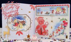 Handmade bright and jolly Christmas card with snowman charm by Glitzycards on Etsy