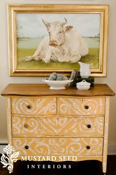 miss mustard seed milk paint- beautiful yellow dresser!