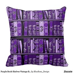 Purple Book Shelves Vintage Books Throw Pillow created by BlueRose_Design. Personalize it with photos & text or purchase as is! Shabby Vintage, Vintage Books, Vintage Stuff, Purple Home, Shades Of Purple, Deep Purple, All Things Purple, Purple Stuff, Color Lila