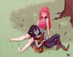 Adventure Time Marceline, Adventure Time Anime, Yuri, Marceline And Princess Bubblegum, Land Of Ooo, Vampire Queen, Bubbline, Fanart, Cute Gay