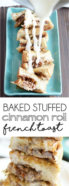Soft French bread stuffed with a cinnamon roll filling, baked to perfection, and topped with cinnamon roll icing. Make ahead so all you have to do in the morning is pop it in the oven!