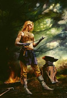 COMPLAINT: I love the idea of a woman blacksmith... But what is with the exposed stomach? That's just asking for nasty burn scars. There is a reason blacksmiths wore leather aprons. (Blacksmith by Julie Bell.)