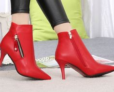Womens Ankle Boots Pointed Toe  Zipper  Stilettos Retro Fashion Slim  A118