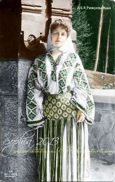 Queen Marie of Romania wearing a traditional costume Michael I Of Romania, Folk Costume, Costumes, Romanian Royal Family, Princess Alexandra, Queen Mary, Ferdinand, Queen Victoria, Royal Fashion