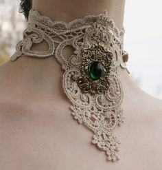 Steampunk choker Ivory venice victorian lacer collar with Emerald Royal Coat of Arms gothic necklace. $26.00, via Etsy.
