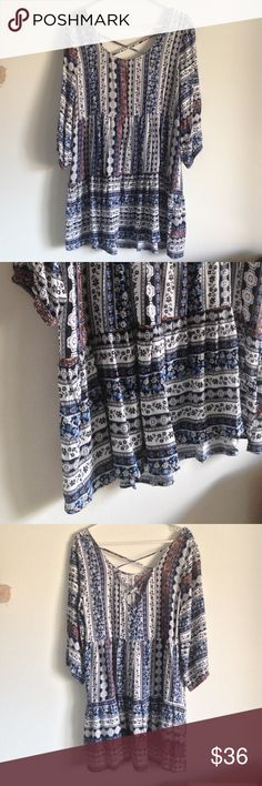 """Floral Print Peasant Dress Brand new with tag. Loosely, flowy and lightweight. Cross lines on the back as stylish. 3/4 sleeves. 60% cotton and 40% polyester. Measurement laying flat: bust: 21"""" length: 34"""" umgee Dresses Midi"""