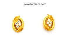 Gold Earrings for Women in 22K Gold with Cz - GER6620 - Indian Jewelry from Totaram Jewelers