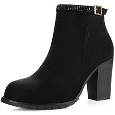 Women's Rhinestone Strap Chunky High Heel Ankle Booties ** Click image for more details. (This is an affiliate link) #AnkleBootie