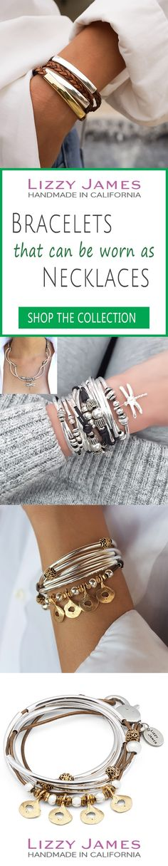 Great Holiday Gift Ideas! FREE Shipping plus 15% OFF for all 1st time buyers, let Lizzy James Jewelry help you Fall into Style this Season! Featuring leather & cotton cord wrap bracelets that can also be worn as necklaces, our designs fit all wrist sizes from petite to plus size. Proud to be made in the USA! #lizzyjames James Jewelry, Diy Jewelry, Silver Jewelry, Unique Jewelry, Handmade Jewelry, Jewelry Design, Jewelry Making, Jewelry Box, Wrap Bracelets