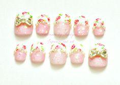 Hime gyaru Japanese nail art pink floral sweet lolita by Aya1gou, $20.00