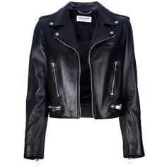 SAINT LAURENT classic leather motorcycle jacket (5,440 CAD) ❤ liked on Polyvore featuring outerwear, jackets, tops, leather jackets, coats, black biker jacket, black cropped jacket, black zipper jacket, real leather jacket и leather biker jacket