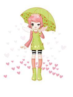 umbrellas.quenalbertini: Girl under green umbrella | ClipArt set3