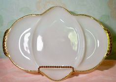 Fire King Divided Relish Tray with Gold Beaded by GreenDoorSalvers, $5