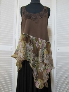 Upcycled Clothing Brown Tunic Asymetrical Tank Top One of a Kind Altered Couture Hippie Boho Size 1X