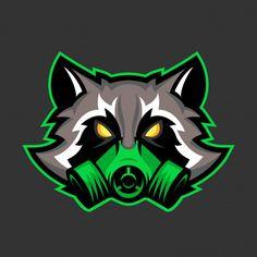 Gas mask raccoon mascot, Sport or esports racoon logo emblem - Stock Vect , Logo Esport, Art Logo, Game Logo Design, Esports Logo, Graffiti Characters, Game Character Design, Racoon, Logo Sticker, Animal Logo