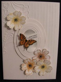 SU Flower Shop card by Alene.... love the embossing with the scored lines... (change sentiment)