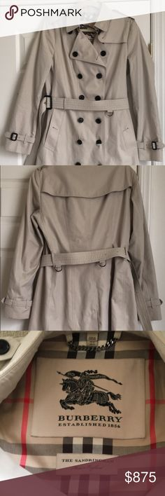"""Burberry """" The Sandringham"""" Mid-Length Trenchcoat Authentic Burberry. Amazing Condition! Trying to clean out my closet and don't wear nearly as much as I should. European Size 12 in Sand Color. Comes with hanging bag :) Burberry Jackets & Coats Trench Coats"""