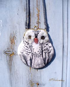 snowy OWL Wet Felted coin purse Ready to Ship with bag frame metal closure Handmade  gift for her via Etsy.