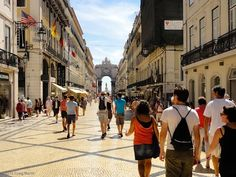 Walking towards the Plaza Commercio in Lisbon, Portugal.