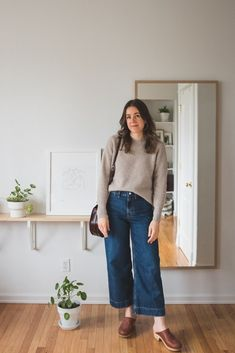 What I Wore: Mom Outfits - Seasons + Salt - Everlane Wide Leg Crops Wide Jeans, Cropped Wide Leg Jeans, Wide Leg Pants, Clogs Outfit, Pants Outfit, Denim Cullotes Outfit, Clogs Shoes, Mom Outfits, Casual Outfits