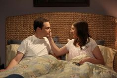 Sheldon (Jim Parsons, left) and Amy (Mayim Bialik, right) spend their first night together, on THE BIG BANG THEORY.
