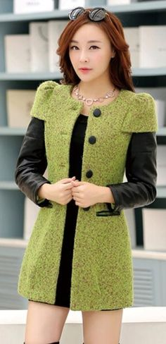 Stylish Cashmere Coat with PU Leather Sleeves Green Fashion, Autumn Fashion, Cute Dresses, Short Dresses, Coats For Women, Clothes For Women, Cashmere Coat, How To Make Clothes, Outerwear Women