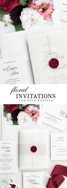The Quinn wedding invitation suite is paired with Scarlett florals. Scarlett features blush and red garden roses, burgundy dahlias, and pink lisianthus.